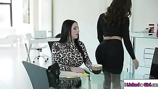 Lesbian boss ass fucked by say no to secretary