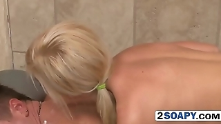 Enjoyable couple in shower having sex for the first time