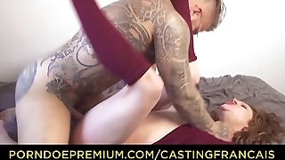 CASTING FRANCAIS - Naughty newbie Alice rides cock hard then eats cum