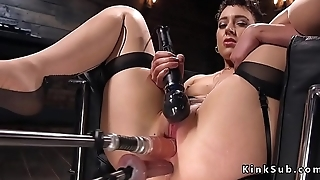 Babe on double penetration fuck machine