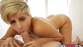 Babe in arms loves sucking POV cock in closeup