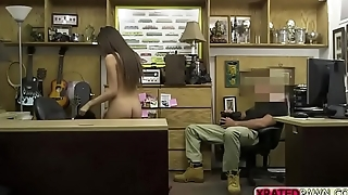 Cute babe models her fur coat and then pawndude pay her for sex