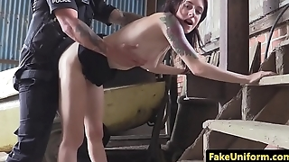Skinny British babe pov doggystyled wide of cop