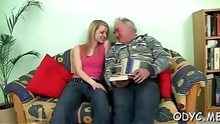 Horny young sweetheart gives an old dude nice blowjob and fucks