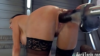 Squirting milf dildo fucked away from machine