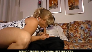 HAUSFRAU FICKEN - Blonde German lady everywhere her 40s fucked everywhere reverse cowgirl by guy to glasses