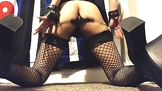 Hairy Ass Shaking in Fishnet Stockings and High Heels