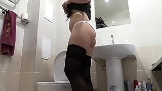 Golden shower in panties and a lot of urine, compilation of amateur video, cutie with juicy ass and pink pussy pissing.