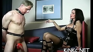 Wicked mistress ties up slave'_s balls coupled with whips booty bloody
