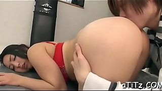 Breasty japanese darling arouses with wicked titty have sexual intercourse