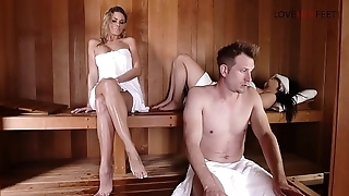 Loveherfeet Naughty perfect blonde Jessa Rhodes'_s sneaky foot intercourse with stranger behind GF'_s back in the sauna