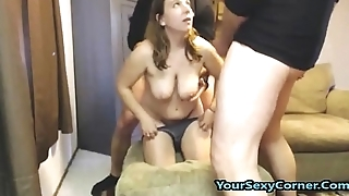 First Time Fucking Two Guys And She Is Ergo Afraid!