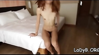 Naughty asian shemale gives a perfect oral job to some dude