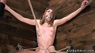 Crotch roped slave pussy vibed