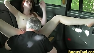 Ginger slut pussy fucks cabbie for free ride