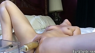 Cute lesbo shakes in machine induced come to a head mount