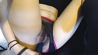 Hairy Pussy under Sheer Black and Pink Panties gets Fucked away from Glum Dildo