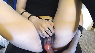 Young Gungy Hairy Pussy in Gradient Panties gets Pink Jelly Dildo