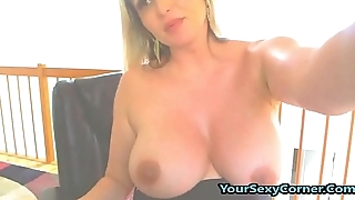 Pregnant Blonde Milf Fleshing Tits And Botheration On Cam