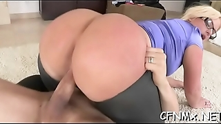 Breathtaking chick sucks a big dick and gets panties ripped to fuck
