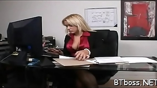 Sexy boss lady gives wet vocal sex and takes it hard doggystyle