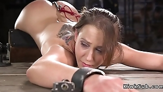Nearby device bondage slave fucked with dildo