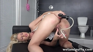 Sweet shaved pussy of blonde gets wet from sex toys