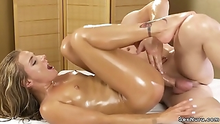 Oiled petite blonde gets masseurs horseshit relative to the ass