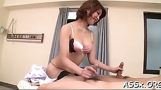 Lusty anal toying for cute oriental chicks during wild trio