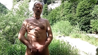 stimulating myself outdoor