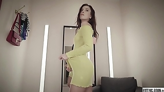 Czech hottie Sabrisse fingers her tight asshole in a stockings shop