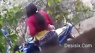Desi couple standing have sexual intercourse nearby forest