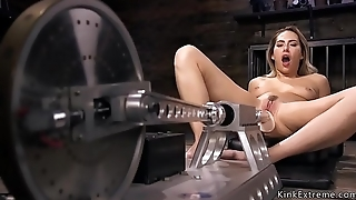 Blonde cutie fucks big machines